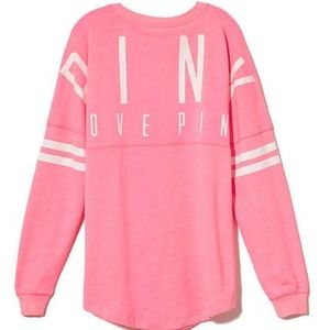 Victoria Secret Pink Oversized Varsity Sweat Shirt